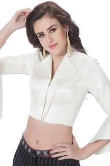 Picture of Serene white designer blouse with zip
