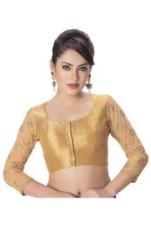 Picture of Evergreen gold shimmer blouse with zari