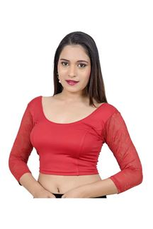 Picture of Novel red designer blouse in self work