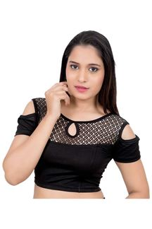 Picture of Black designer cold shoulder blouse