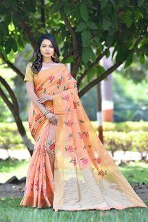 Picture of Attractive orange Colored Embroidered Banarsi Art Silk Saree