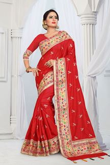 Picture of Fetching Red designer saree with zari & Embroidery Work