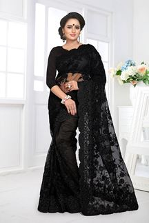 Picture of Flaunt Black Colored Embroidered Party Wear  Net Saree