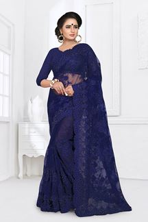 Picture of Stylish Navy Blue Colored Partywear Embroidered Net Saree
