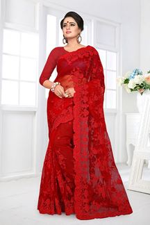 Picture of Lovely Red Colored Party Wear Embroidered Net Saree