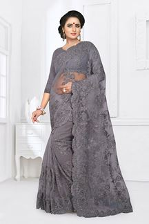 Picture of Pleasance Grey Colored Party Wear Embroidered Net Saree