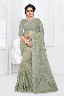 Picture of Green Colored Designer Embroidered Partywear Net  Saree