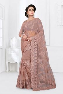 Picture of Lovely light brown Colored Party Wear Embroidered Net Saree