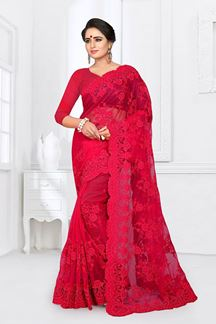 Picture of Adorable Red Colored Party Wear Printed Fancy Net Saree