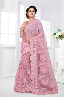 Picture of Mystical Pink Colored Designer Partywear Net Saree