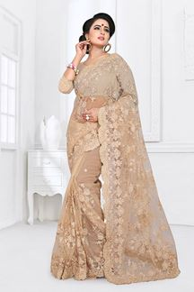 Picture of Marvellous Beige Colored Partywear Embroidered Netted Saree