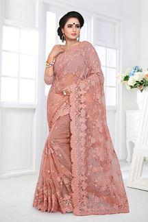 Picture of Classic Peach Colour Designer Net Saree