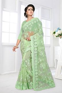 Picture of Sophisticated pista Green Colored Designer Embroidered Work Party Wear Net Saree