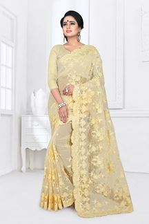 Picture of Groovy Yellow Colored Party Wear Embroidered Net Saree