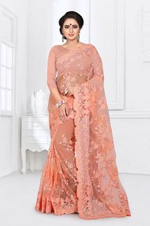 Picture of Flamboyant Light Orange Colored Partywear Embroidered Netted Saree