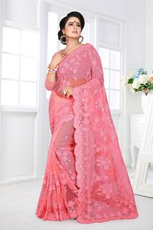 Picture of Stylized peaches-pink Embroidered Net Designer Saree