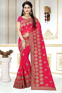 Picture of Magnificent Zari Embroidery Pink colour  Georgette Designer Saree