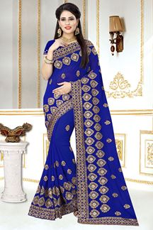 Picture of Appalling Georgette Zari Embroidery Royal Blue Designer Saree