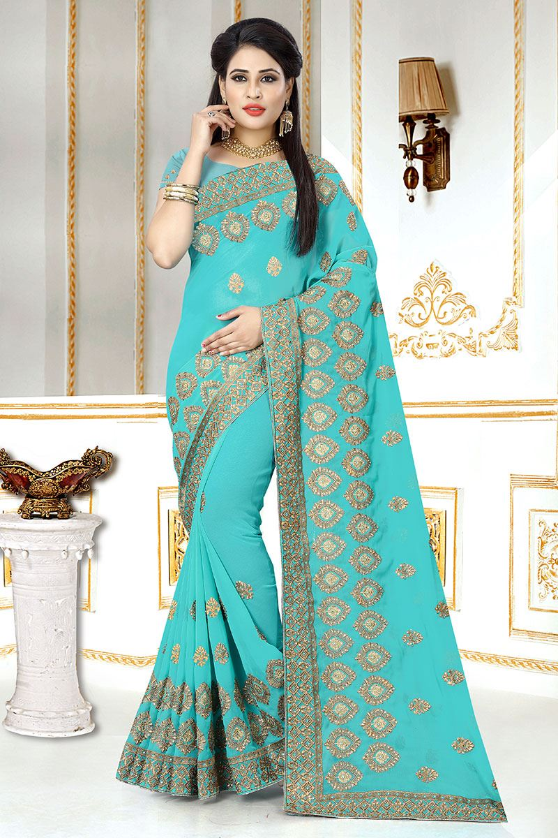 21f3ae44d093a Picture of Spectacular Georgette Zari Embroidery Sky blue colour Designer  Saree