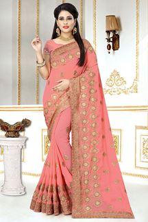 Picture of Glorious Georgette Zari Embroidery Peach colour Designer Saree