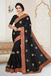 Picture of Superlative Designer Black Georgette Party Wear Saree