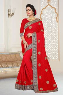 Picture of Beguiling Designer Red Georgette Party Wear Saree
