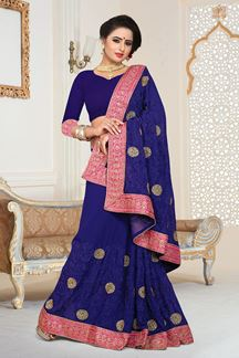 Picture of Opulent Navy Blue Colored Designer Georgette Saree