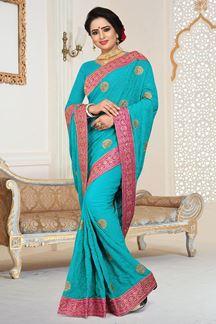Picture of Ravishing Rama Blue Colored  Designer Georgette Saree