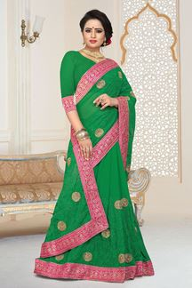 Picture of Smashing Designer Green Georgette Party Wear Saree