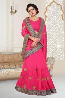 Picture of Sensation Designer Pink Georgette Party Wear Saree
