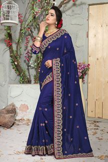Picture of Marvellous Navy Blue Colored Partywear Embroidered Vicitra Silk Saree