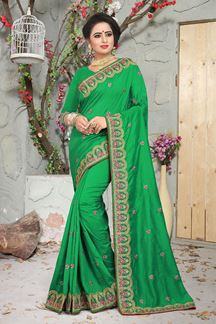 Picture of Timeless Perrot Green designer saree with zari & resham Work