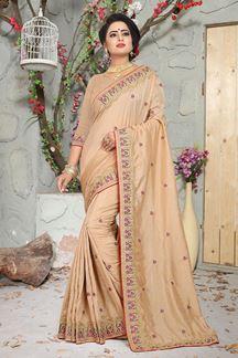 Picture of Eccentric Brown Color designer saree with zari & resham Work