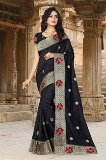 Picture of Flaunt Black Colored Embroidered Party Wear Vicitra Silk Saree