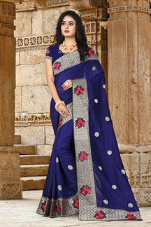 Picture of Stylish Navy Blue Colored Partywear Embroidered Vicitra Silk Saree
