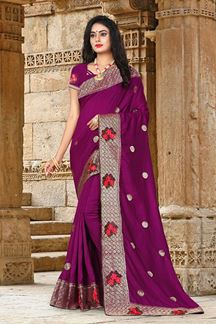 Picture of Elegant Wine Colored Embroidered Vicitra Silk Saree