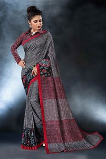 Picture of Dark Grey Colored Digital Printed Tusser Silk Saree