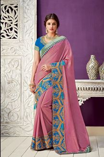 Picture of The Broad Border Onion Pink & Blue Georgette Sarees