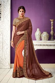 Picture of On The Crossroads Of Tradition And Modernity, This Brown & Orange Georgette Saree