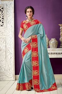 Picture of Crossroads Of Tradition And Modernity, Blue & Red Silk Saree
