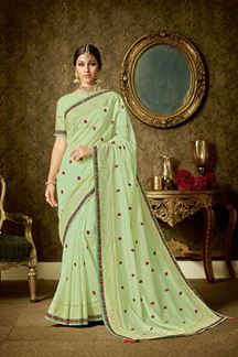 Picture of Lime Green Organza Floral Embroidery Saree