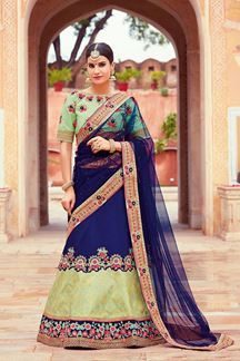 Picture of Rich Royal Blue & Lime Green Colors Lehenga Choli