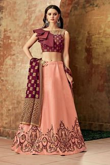 Picture of Prominent Peach-Maroon Colored Party Wear Silk Lehenga Choli