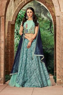 Picture of Breathtaking Sea Blue Colored Partywear Embroidered Silk-Net Lehenga Choli
