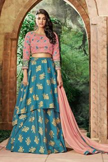 Picture of Dazzling Sky Blue & Pink Colored Designer Embroidered Lehenga Choli