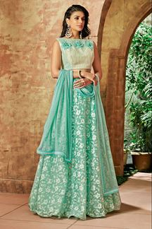 Picture of Classy off-white & green designer lehenga