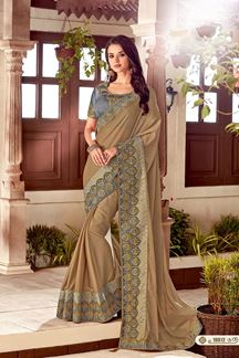 Picture of Radiant Brown Colored Designer Embroidered Partywear Saree