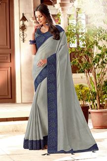 Picture of Trendy Gray Colored Partywear Embroidered Silk Saree