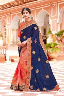 Picture of Innovative Navy Blue-Orange Colored Partywear Woven-Embroidered Silk Half-Half Saree