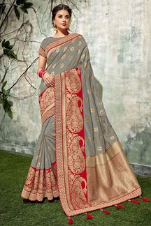 Picture of Sophistication In This The Melange Of Grey And Red Designer Saree